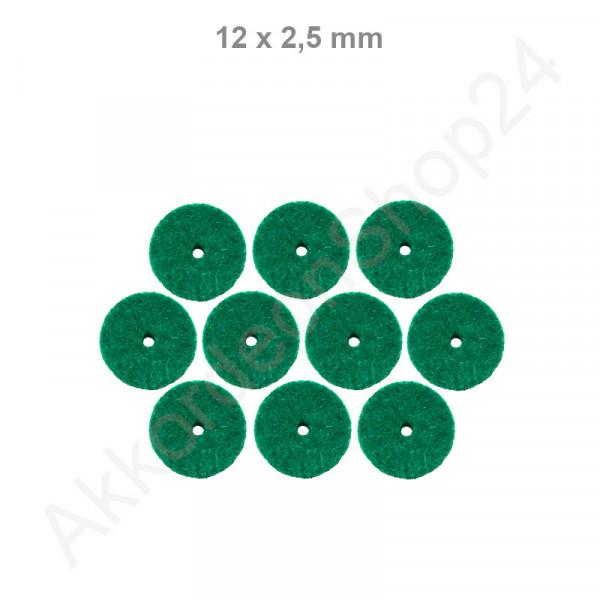 10Stk. Filzringe 12 x 2,5 mm, grün