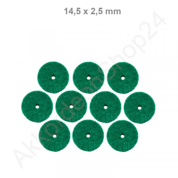 10Stk. Filzringe 14,5 x 2,5 mm, grün