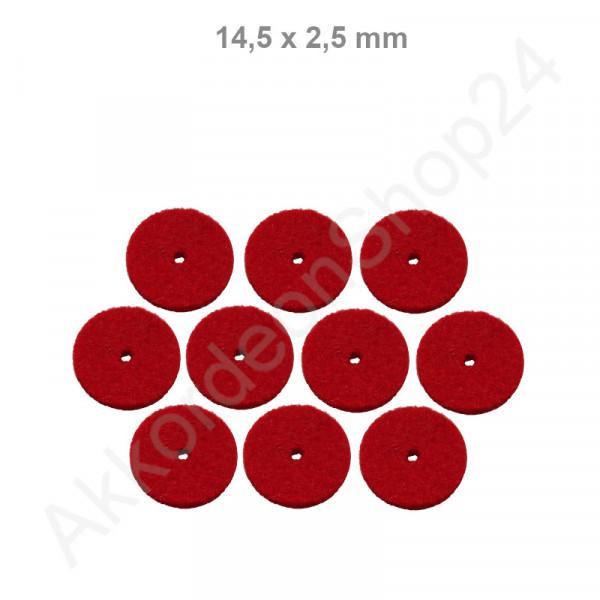 10Stk. Filzringe 14,5 x 2,5 mm, rot