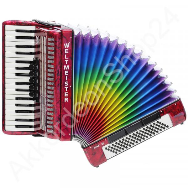 Akkordeon-Achat-80-rot-Balg-Regenbogen