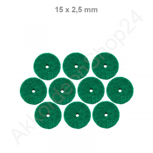 10Stk. Filzringe 15 x 2,5 mm, grün