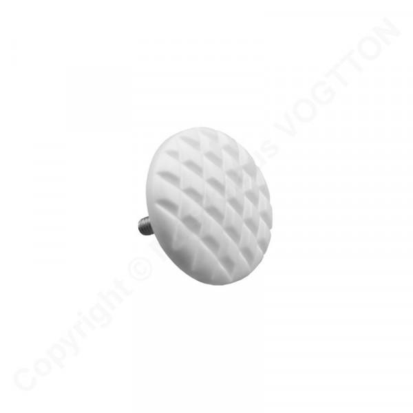 Ø 16 mm Diskantknopf, metrische Gewinde M2 - geriffelt - weiß