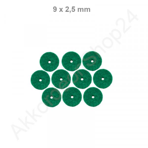 10Stk. Filzringe 9 x 2,5 mm, grün